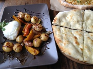 Burrata with seasonable vegtables & flat bread