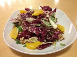 linsalata di radicchi and finocchi salad with fennel, oranges and walnuts
