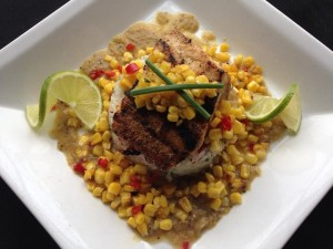 Grilled Mahi Mahi with Jalapeño and Cilantro Rice with Salsa Verde and Roasted Corn