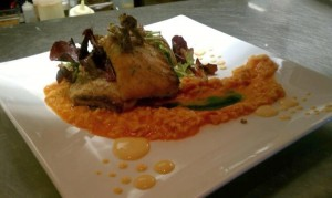 pan seared pacific corvina with tomato risotto, mixed greens and scallop cream sauce